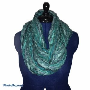 Turquoise and Silver Frayed Infinity Scarf